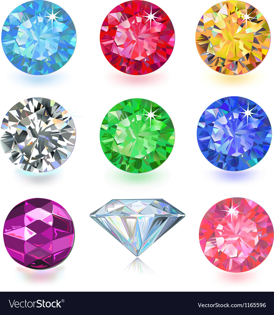 Colored gems vector