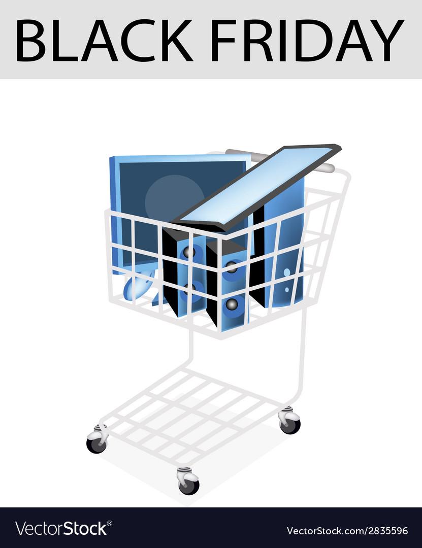 Desktop computer in black friday shopping cart vector