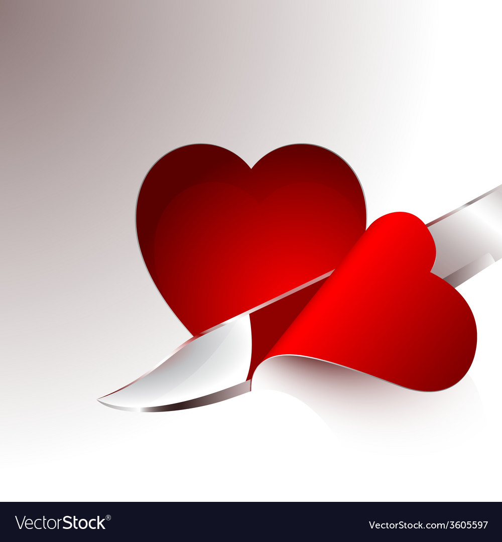 Cut a slice of red heart vector