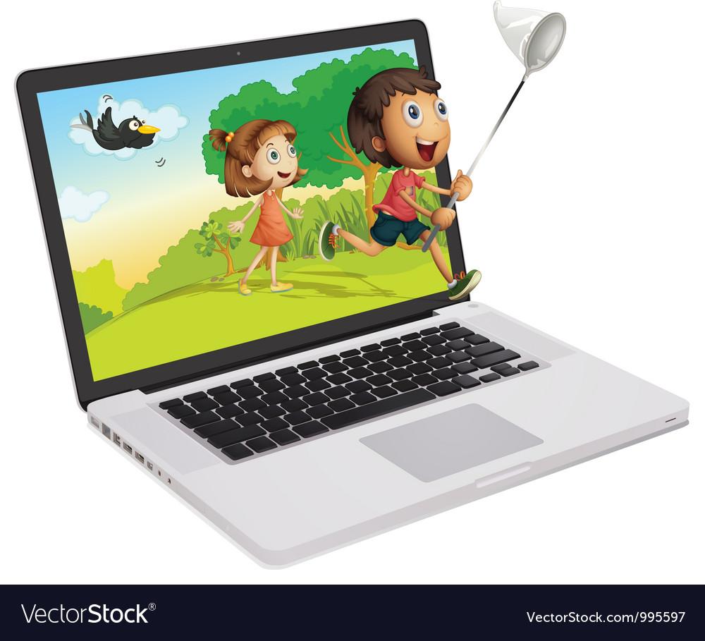 Laptop display vector