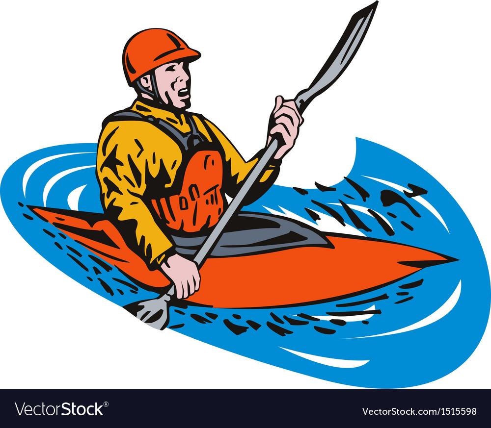 Kayak paddler vector
