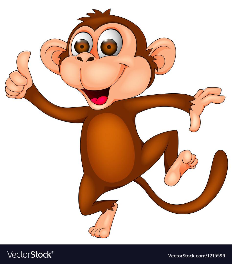 Cute monkey dancing vector
