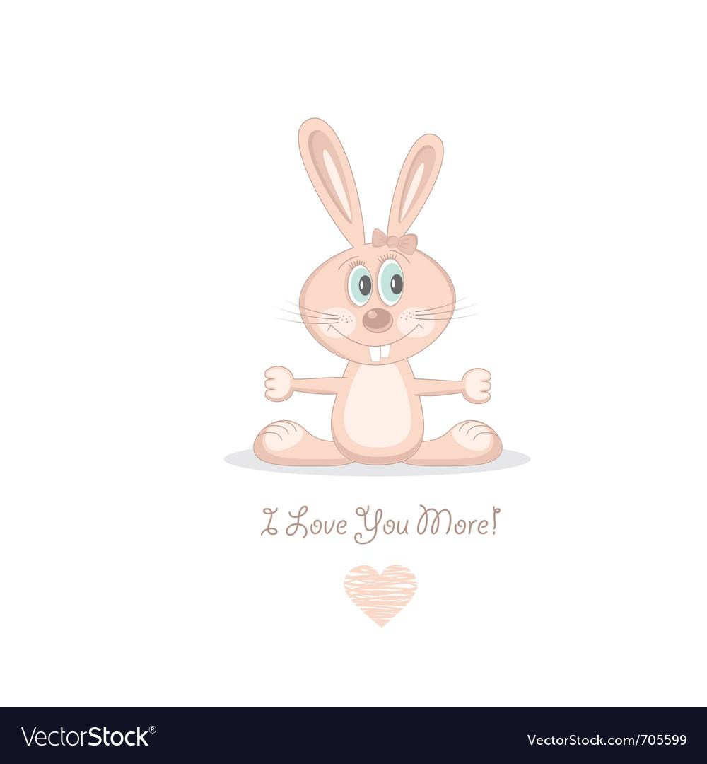Pink love rabbit vector