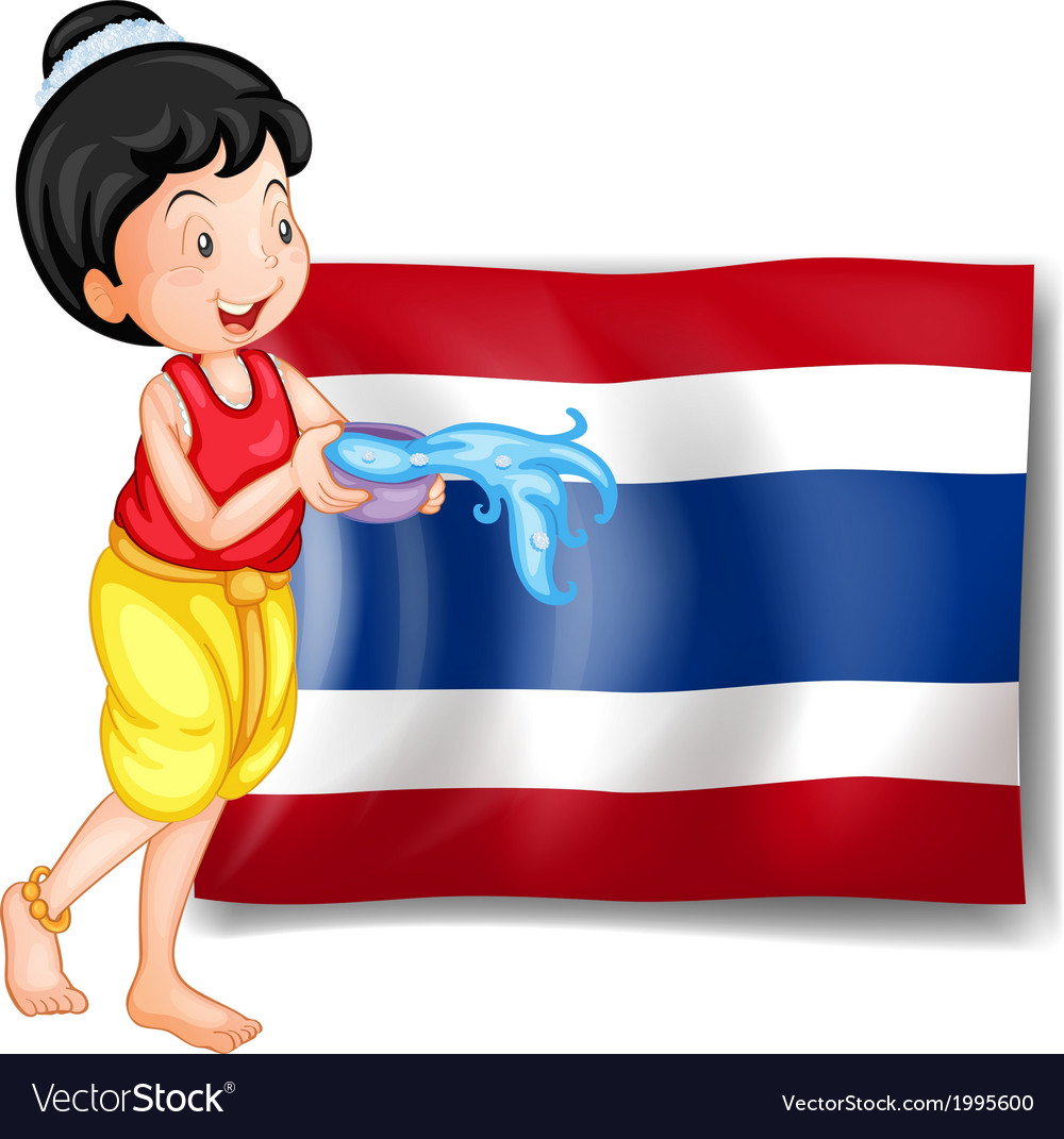 A smiling thai woman in front of the thailand flag vector