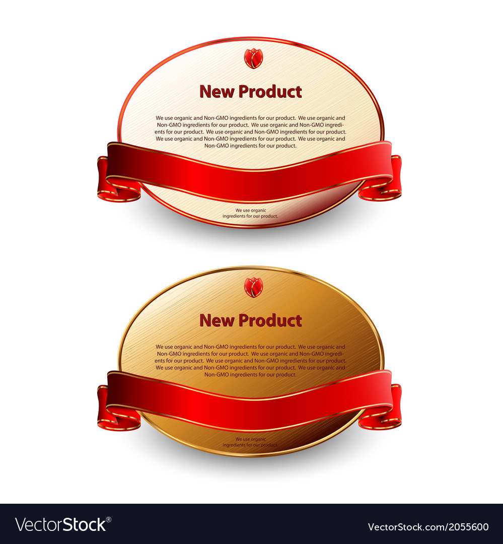 Two oval labels with red ribbons vector