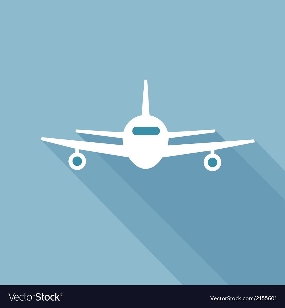 Flat long shadow air plane vector