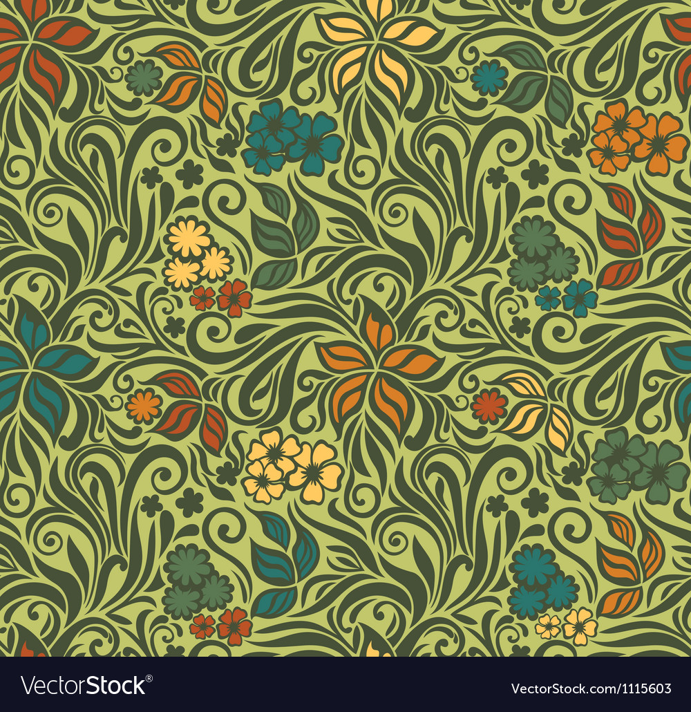 Decorative floral retro seamless background vector