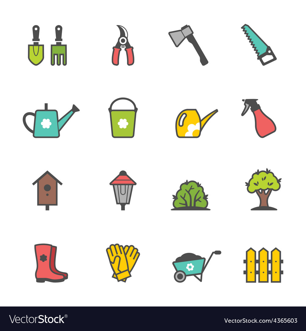 Icon set of garden tools and accessories vector