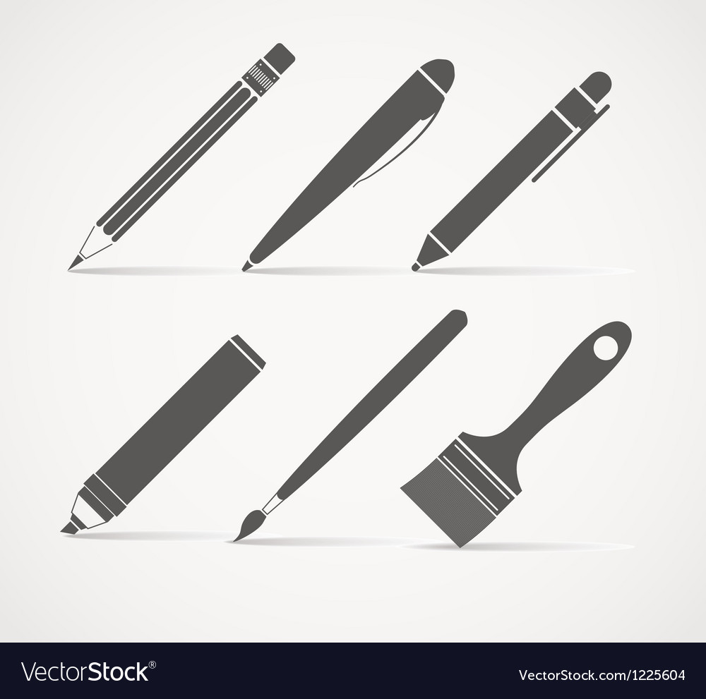 Paint and writing tools collection vector