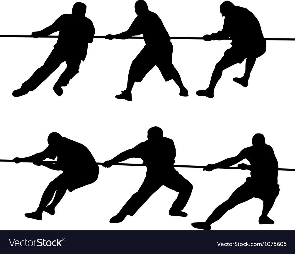 People pulling rope vector