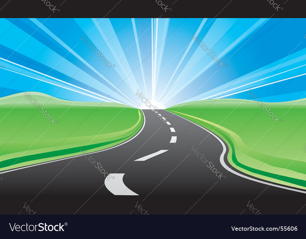 Road to the sunrise vector