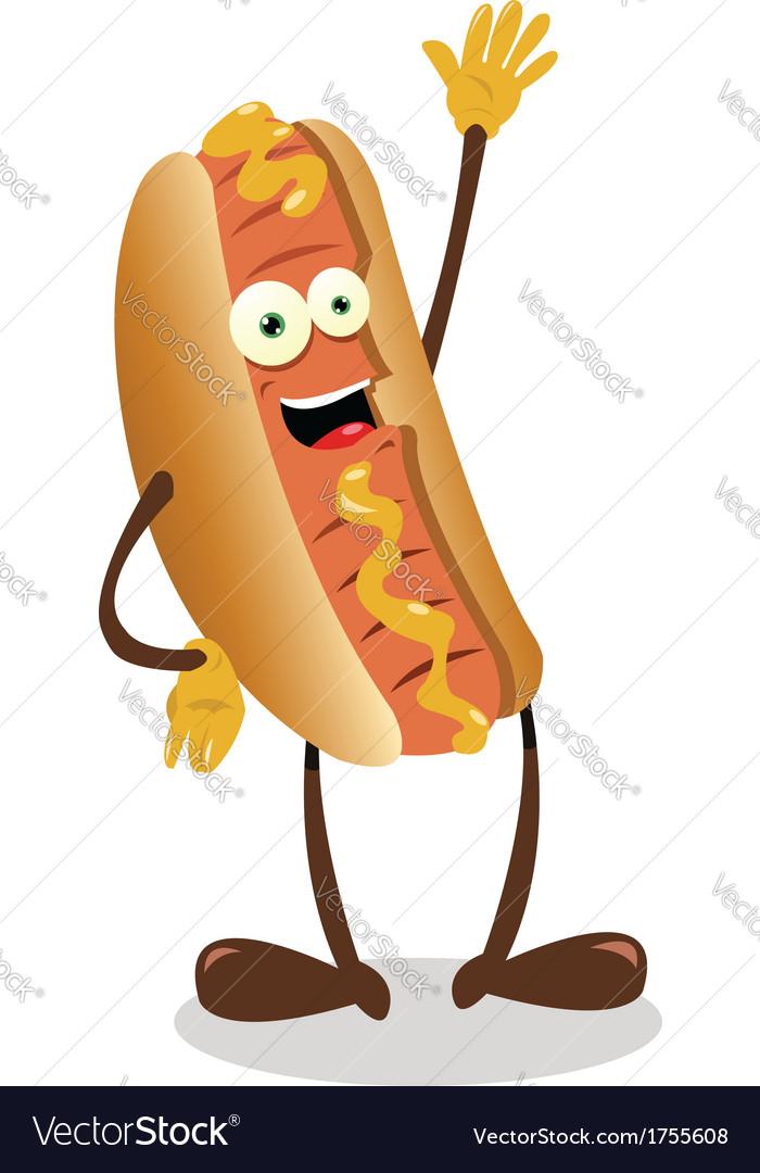 Funny hot dog vector
