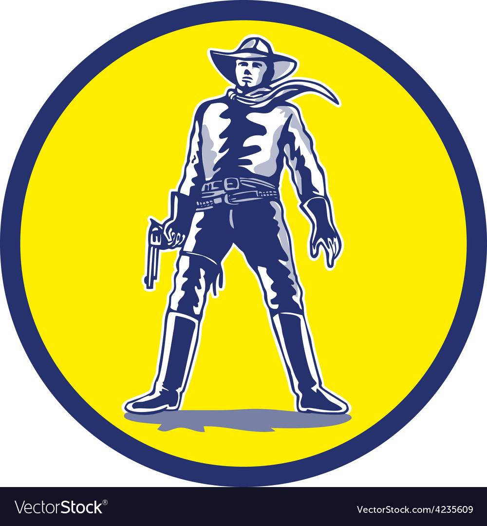 Cowboy standing with pistol cartoon vector