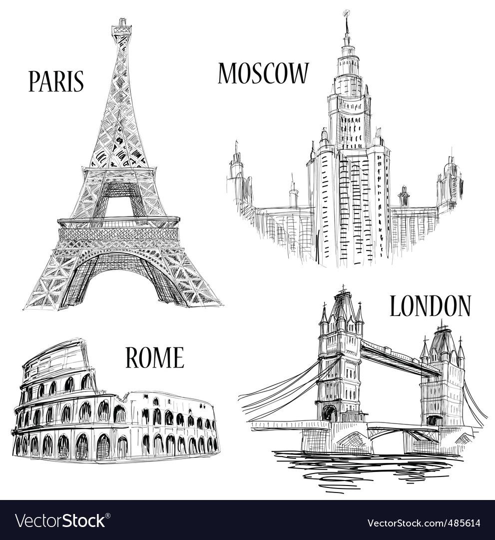 European cities symbols sketch vector