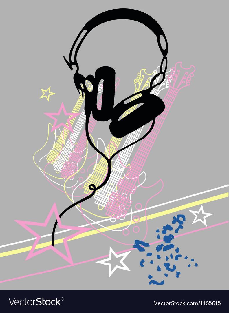Headphone guitar music poster vector