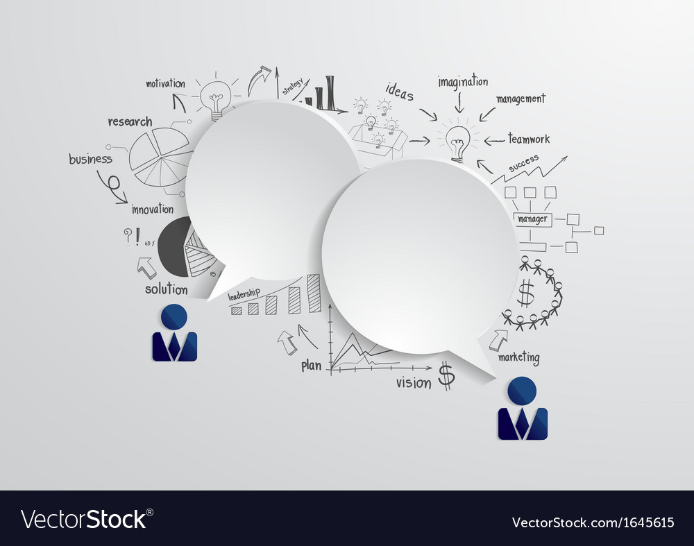 Speech bubble with drawing business strategy plan vector