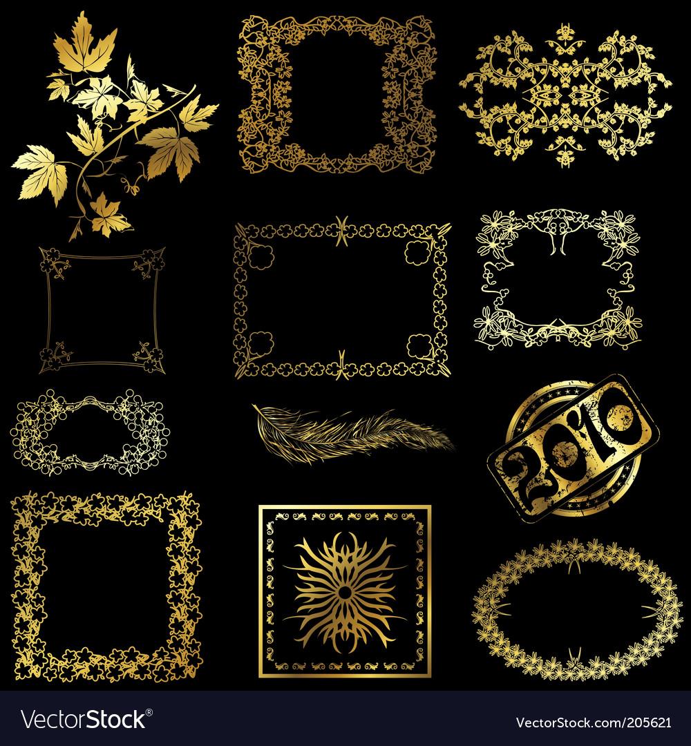Gold design elements vector
