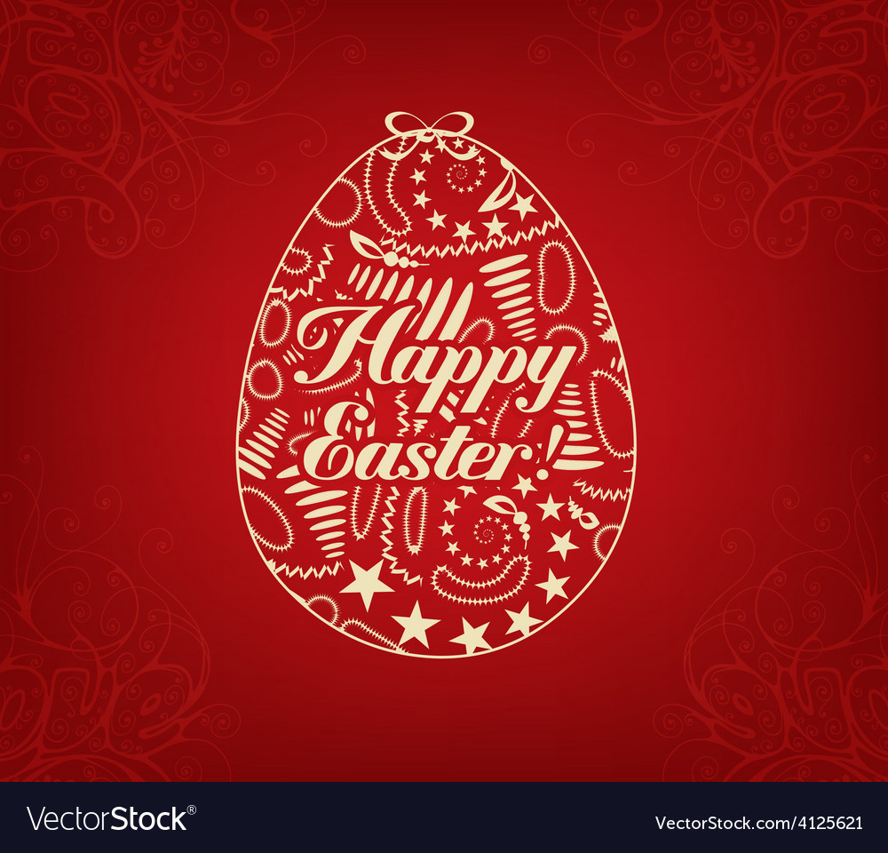 Happy easter lettering in form of egg vector