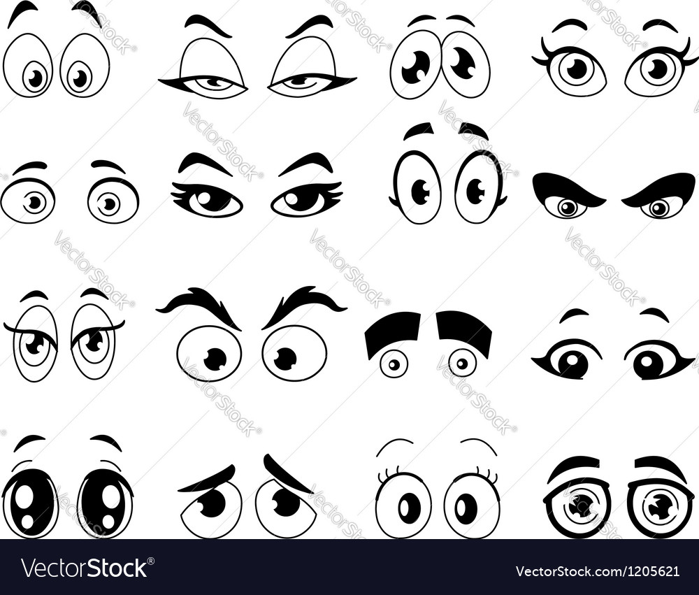 Outlined cartoon eyes vector
