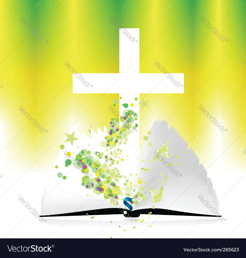 Open bible and christ illustration vector