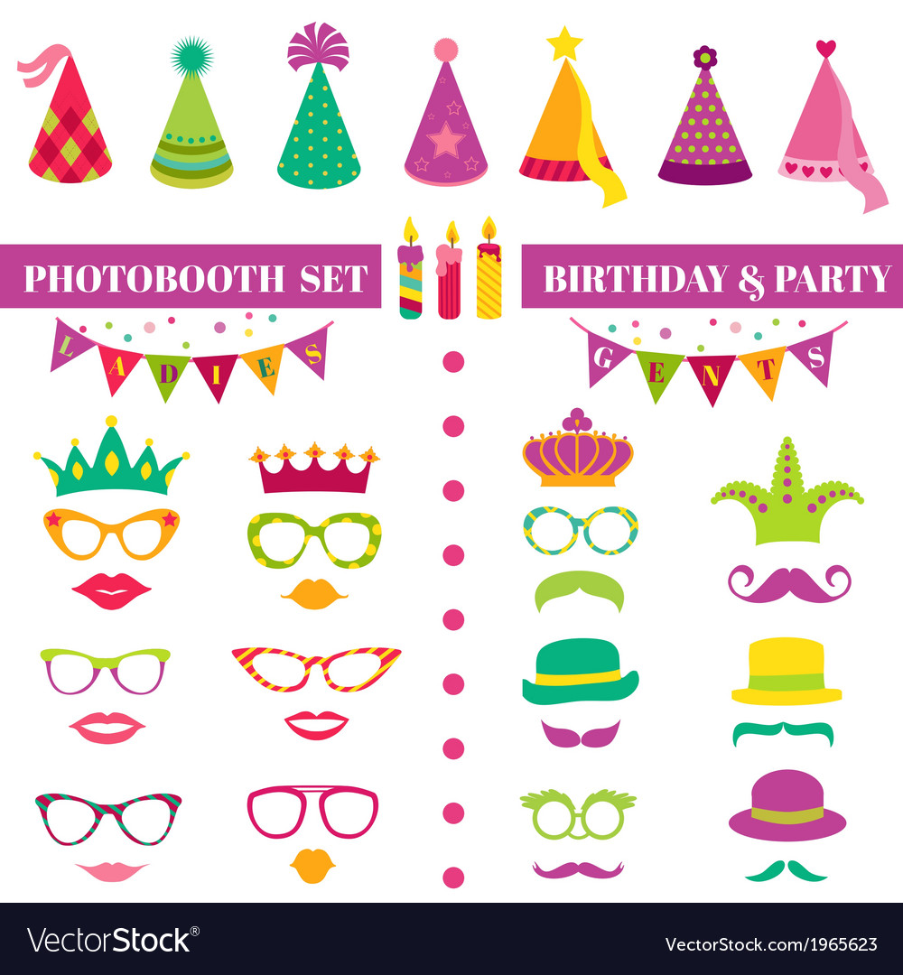 Photobooth birthday and party set vector