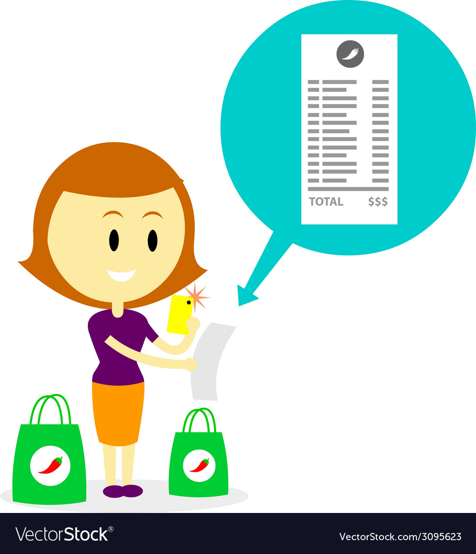 Taking photo of grocery receipt vector