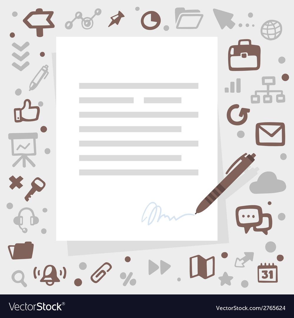 Bright pen writes contact on a gray backgrou vector