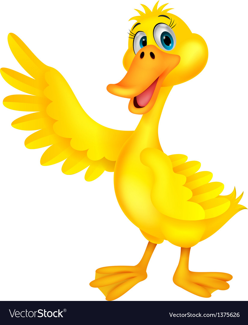 Cute duck cartoon waving vector