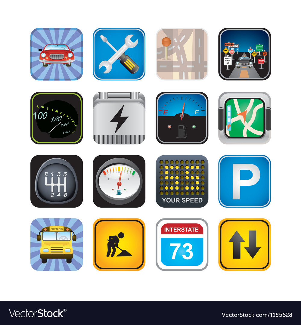 Car signs and icons vector