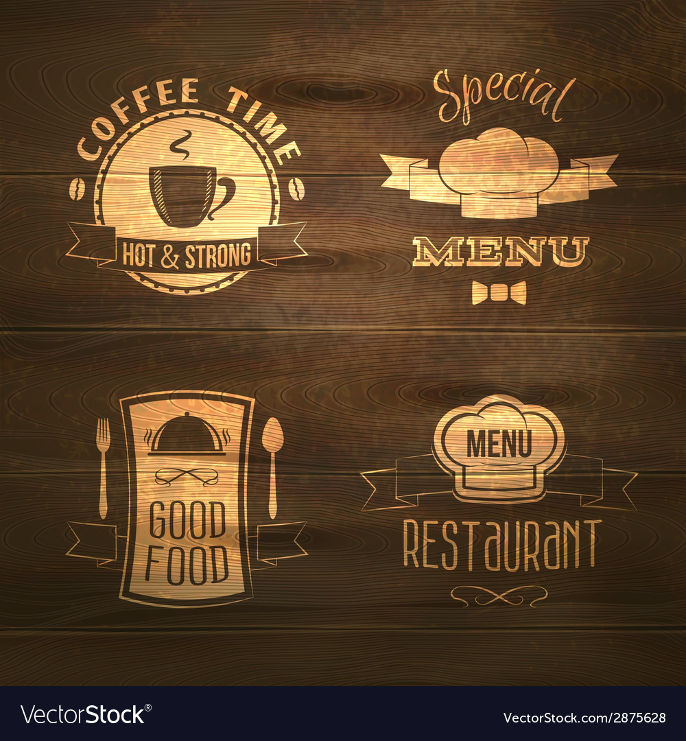 Restaurant menu emblems set wooden vector