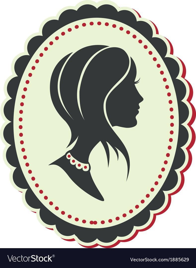 Cameo lady short hair vector