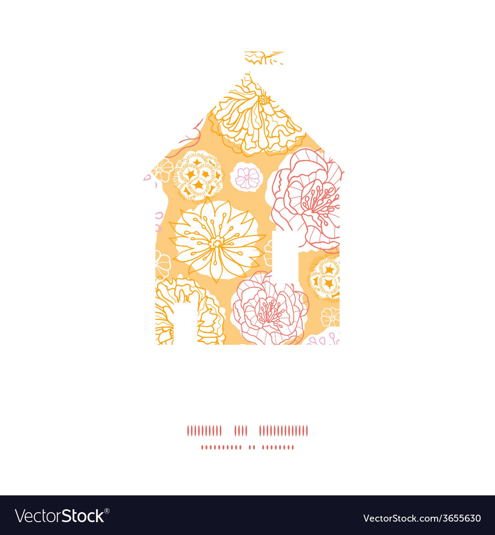 Warm day flowers house silhouette pattern frame vector