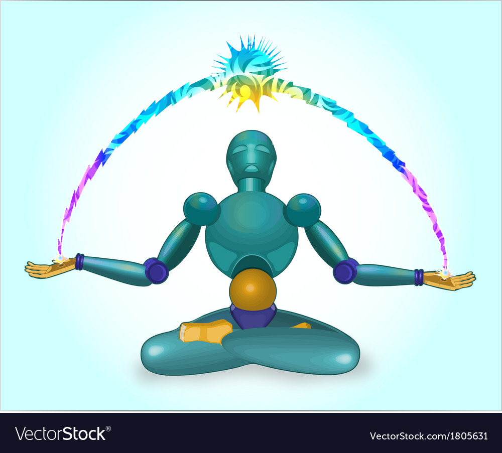 Robot sits in a lotus pose vector
