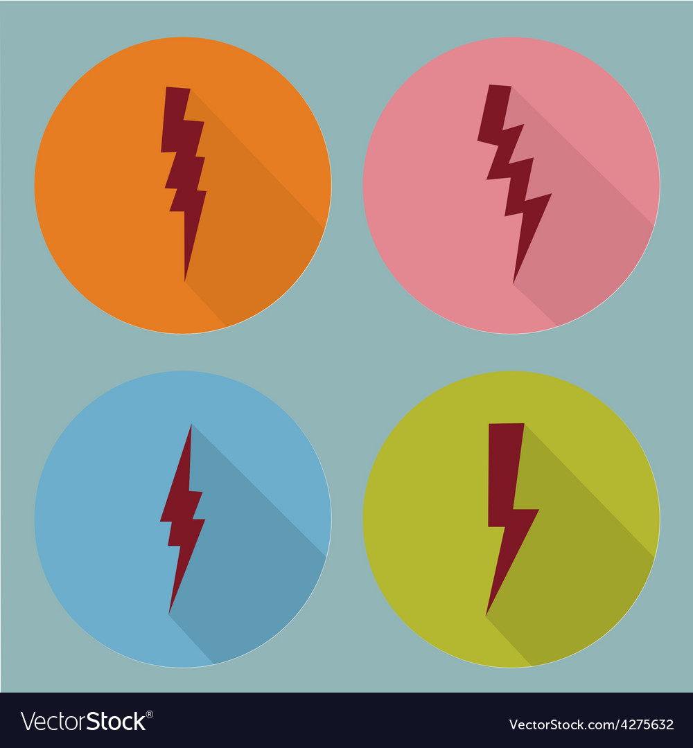 Flat lightning symbols set vector