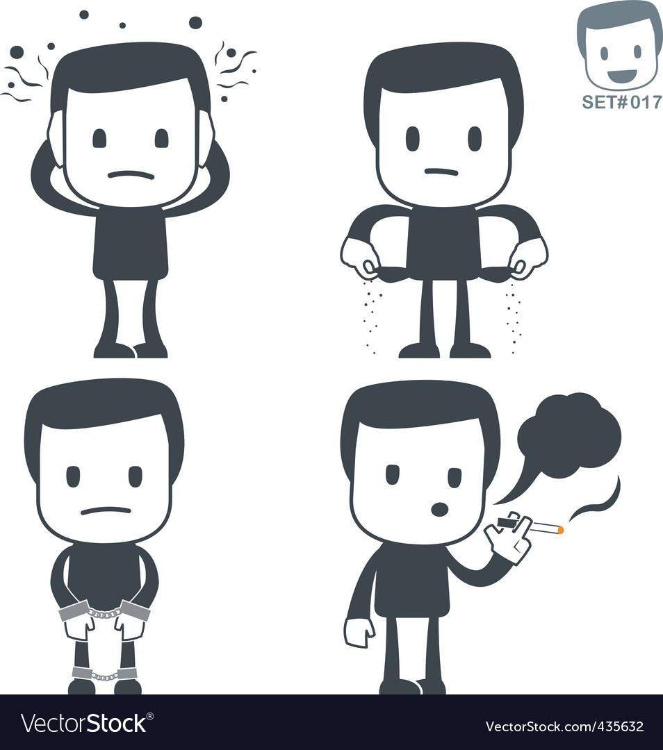 Stress icon man set017 vector
