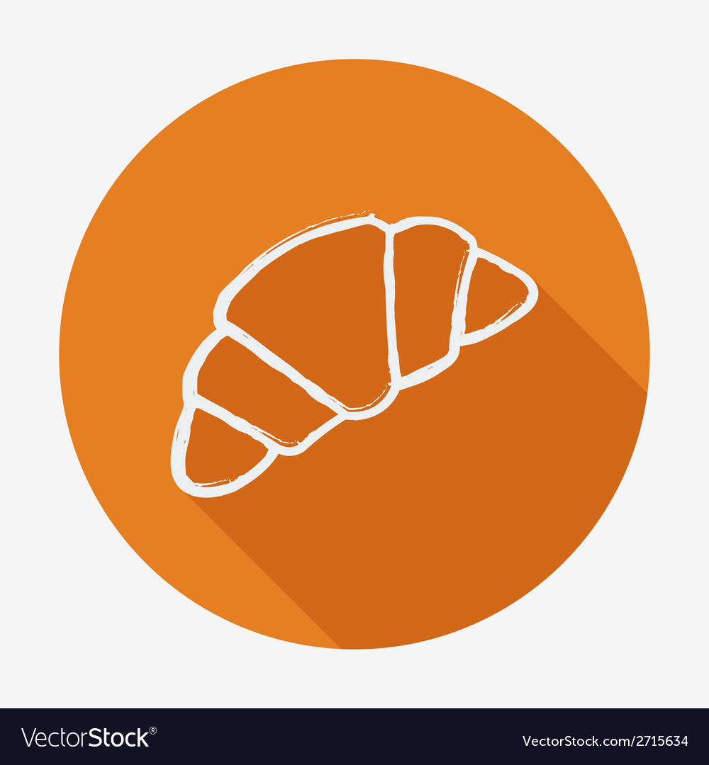 Single croissant with long shadow vector