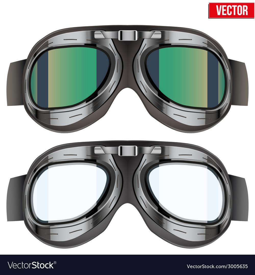 Retro aviator pilot glasses goggles isolated on vector