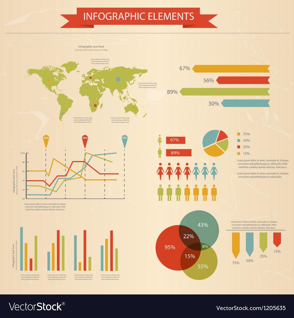 Retro infographics set 2 vector