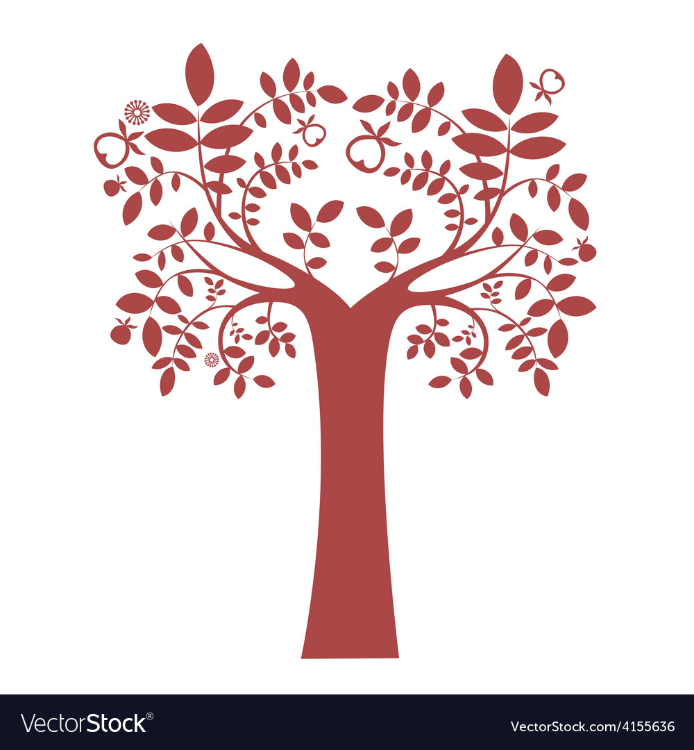 Fantasy tree silhouette vector