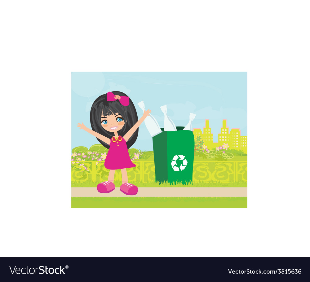 Girl recycling bottles vector