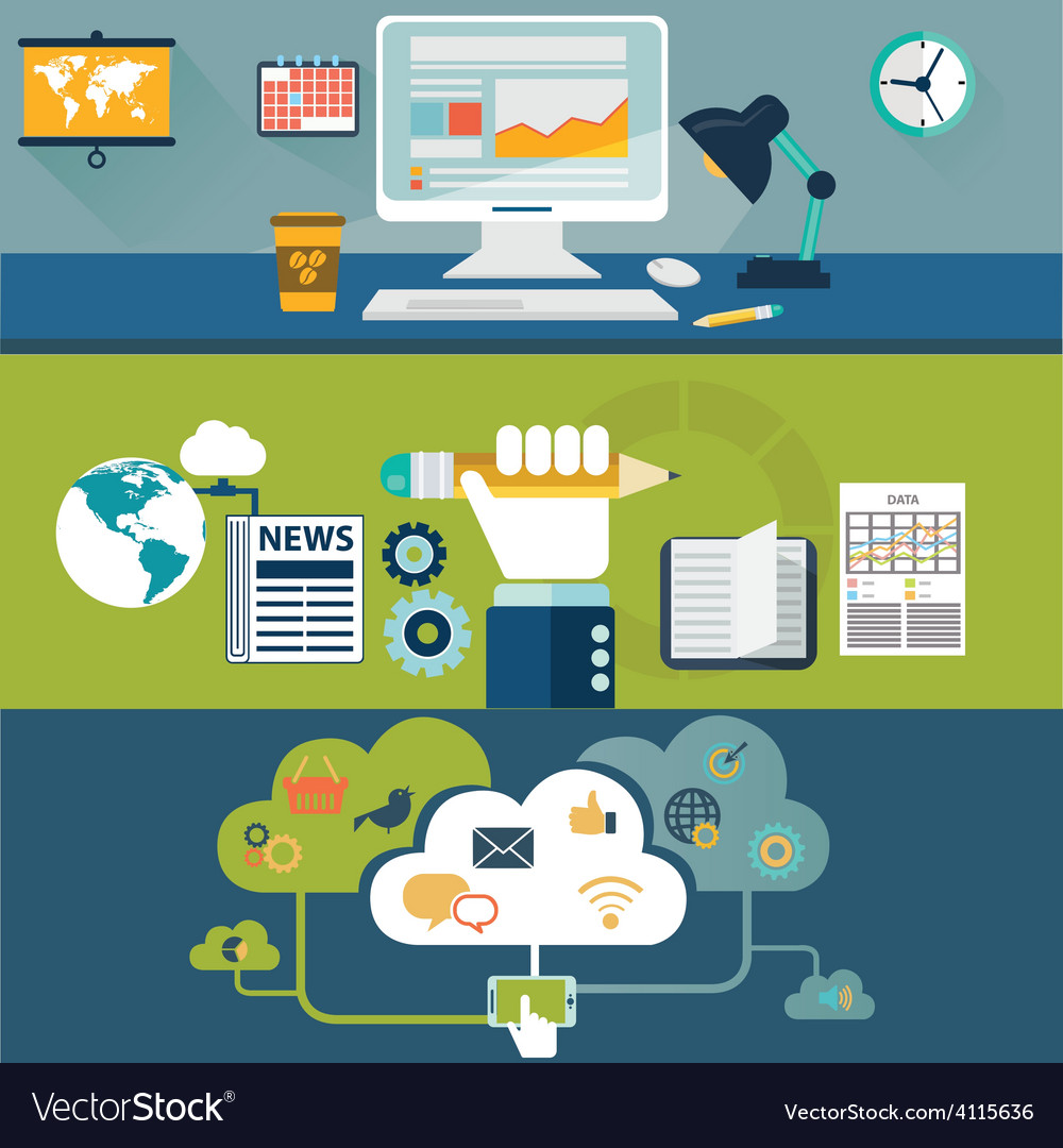 Web design and technology icons vector