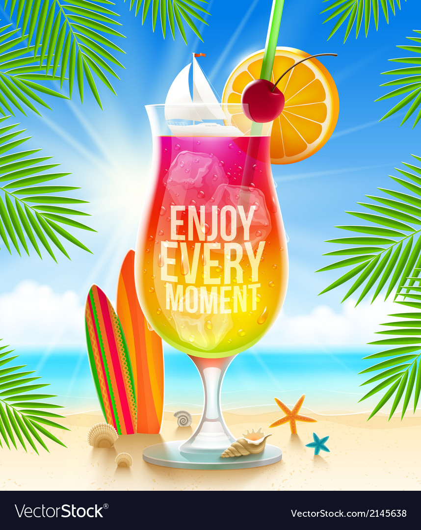 Exotic cocktail with summer greeting vector