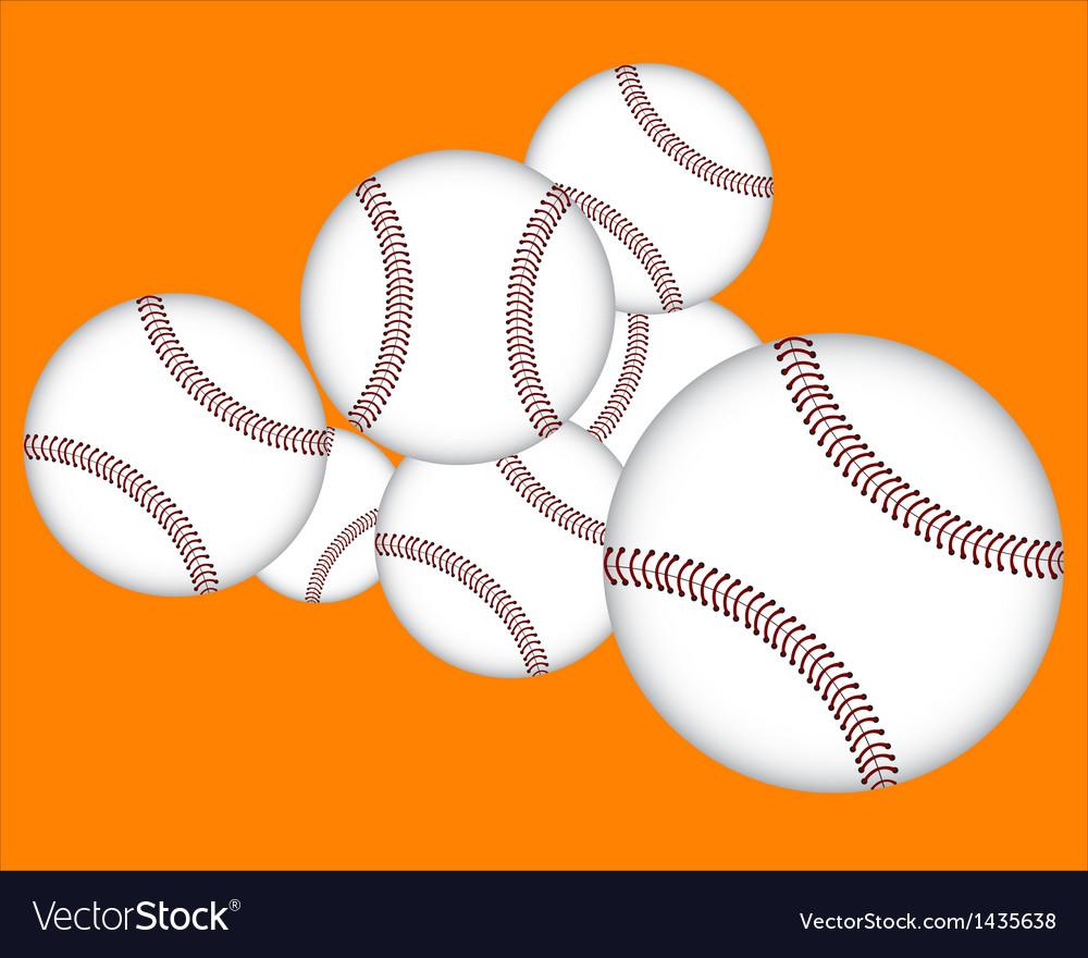 Seven baseballs vector