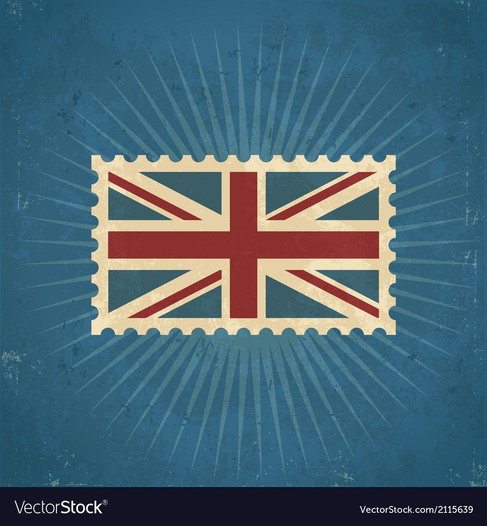 Retro united kingdom flag postage stamp vector