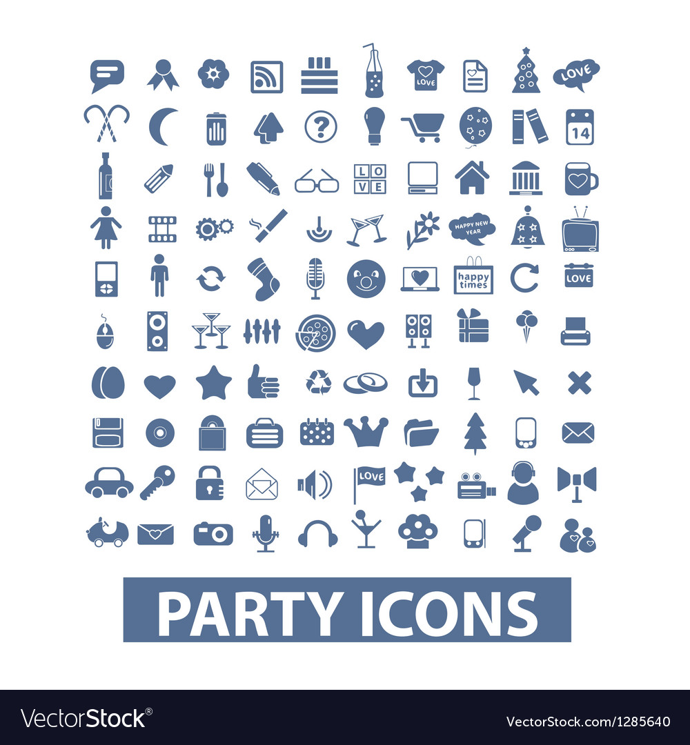 Party birthday celebration icons set vector