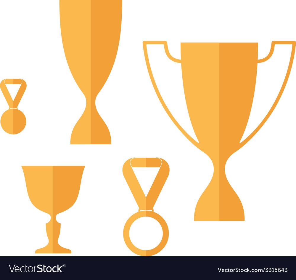 Trophy icon set vector