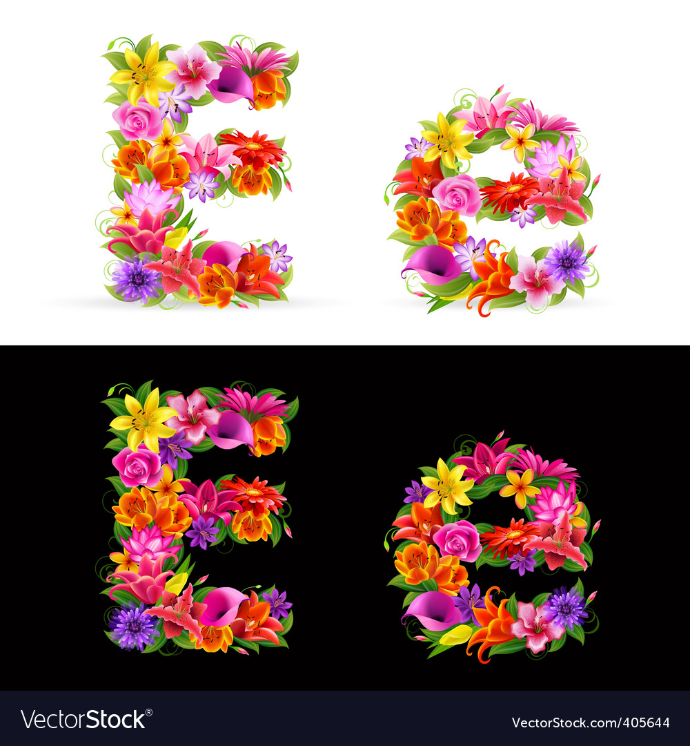 Flower font vector