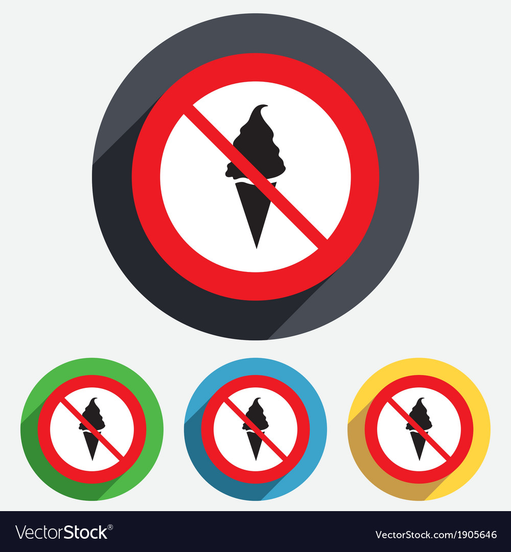 Food not allowed ice cream sign icon sweet vector