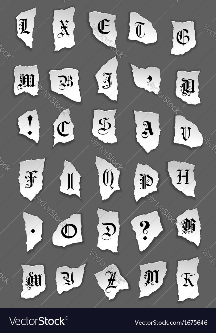 Old letters on torned paper vector