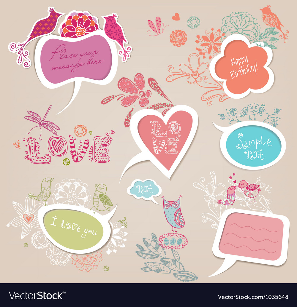 Speech bubbles set love vector